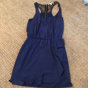 Navy blue mini dress with black lace detail back